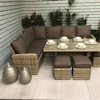 Florence Eight Seater Corner Dining Sofa Set - Caramel/