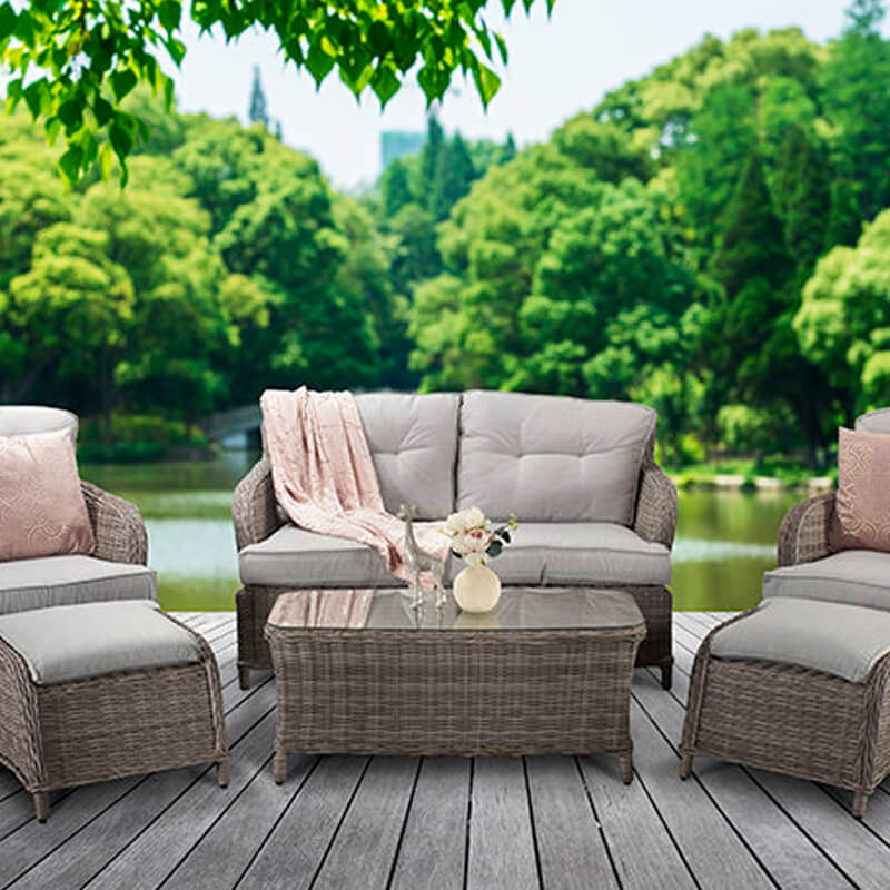 Alexandra Four Seat Sofa Set With Footstools/