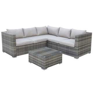 Flat Weave Georgia Compact Corner Sofa Set With Coffee Table - Mixed Brown