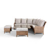 Laytona Large High Back Corner Sofa Set With Rising Table & Benches - Brown/