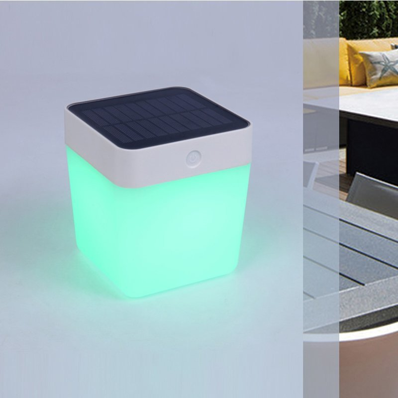 Table Cube Portable Solar Light With Colour Changing LED/