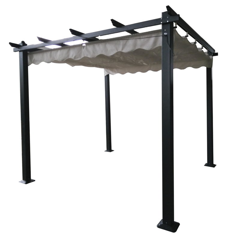 3x3m Square Pergola With Retractable Canopy - Grey/