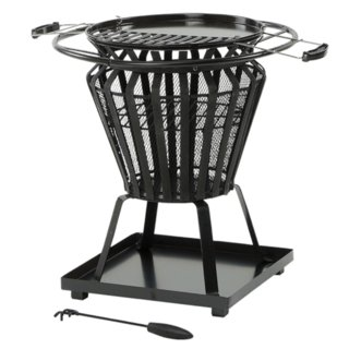 Signa Steel Basket Fire Pit & Cooking Grill