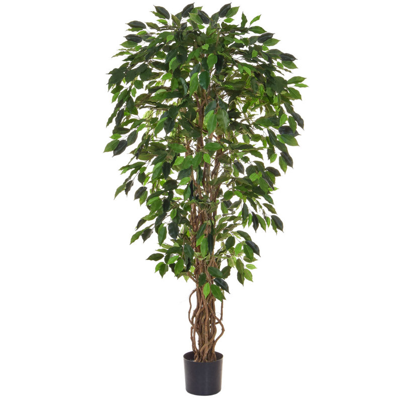 Artificial Ficus Liana Green 120cm with Natural Tree Trunk (Fire Retardant)/