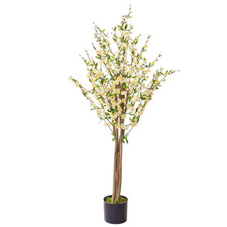 Artificial Cherry Blossom White 150cm with Natural Tree Trunk