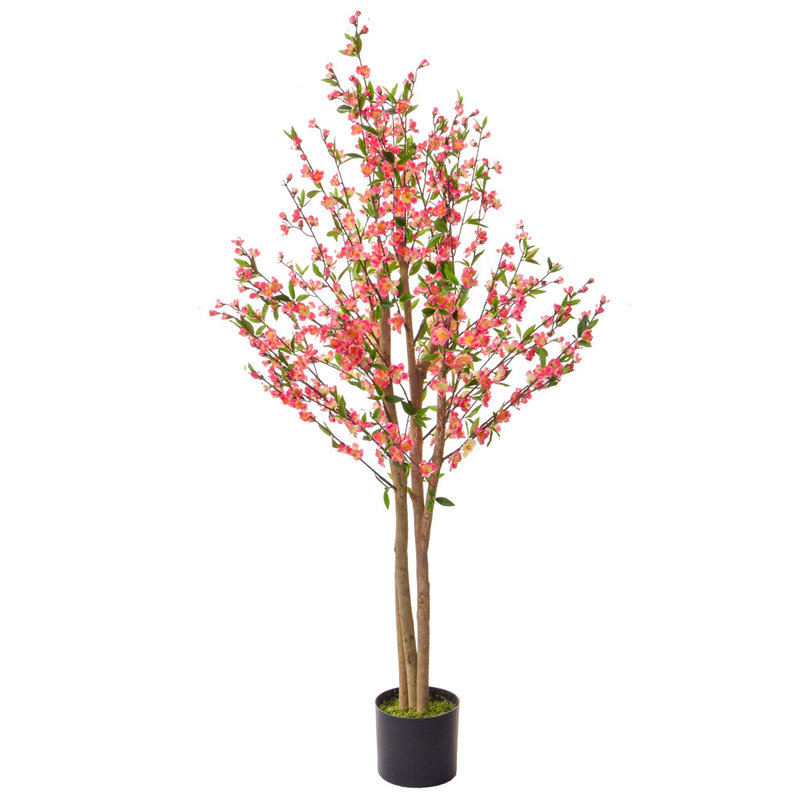 Artificial Cherry Blossom Pink 150cm with Natural Tree Trunk/
