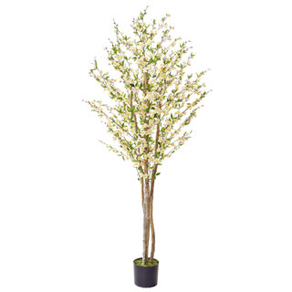 Artificial Cherry Blossom White 210cm with Natural Tree Trunk