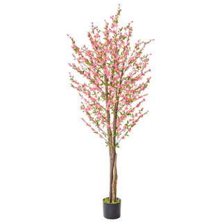 Artificial Cherry Blossom Pink 210cm with Natural Tree Trunk