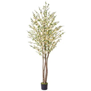 Artificial Cherry Blossom White 240cm with Natural Tree Trunk