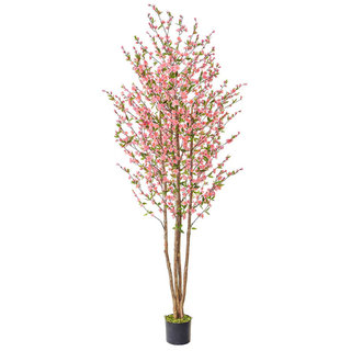 Artificial Cherry Blossom Pink 240cm with Natural Tree Trunk
