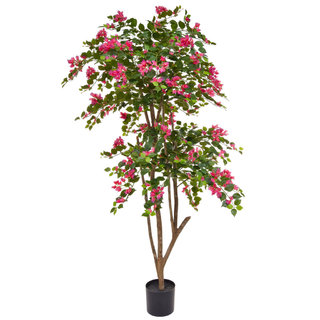 Artificial Flowering Boug Pink 180cm with Natural Tree Trunk