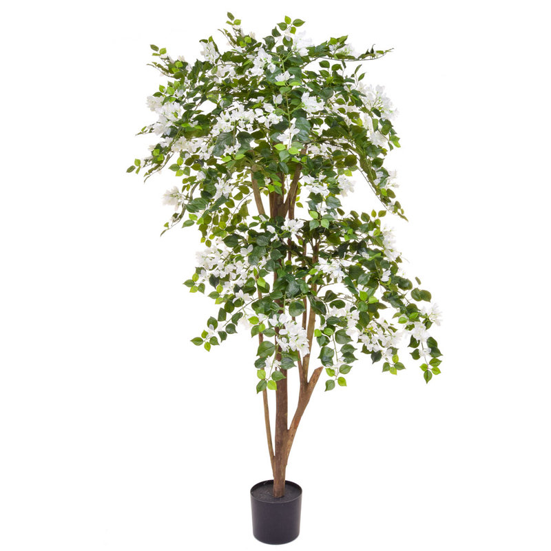 Artificial Flowering Boug White 180cm with Natural Tree Trunk/