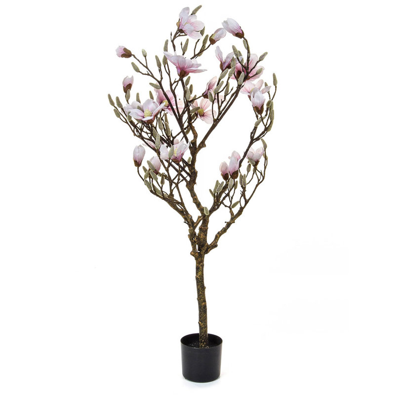 Artificial Flowering Magnolia Tree 120cm with Natural Tree Trunk/