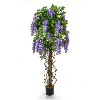 Artificial Flowering Wisteria Purple 160cm with Natural Tree Trunk