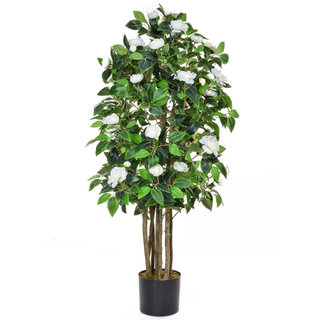 Artificial Flowering Camelia 140cm with Natural Tree Trunk