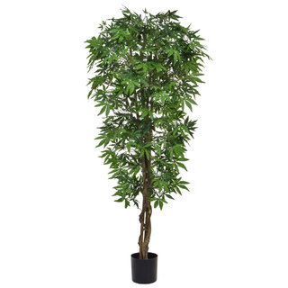 Artificial Japanese Maple Green 150cm with Natural Tree Trunk (Fire Retardant)