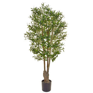 Artificial Olive Tree Green 160cm with Natural Tree Trunk