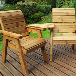 Golden Twin Wooden Garden Chair Companion Set - Angled