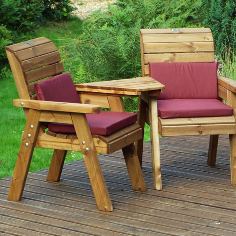 Golden Twin Wooden Garden Chair Companion Set Angled with Burgundy Cushions/