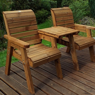 Golden Twin Wooden Garden Chair Companion Set - Straight
