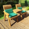 Golden Twin Wooden Garden Chair Companion Set Straight with Green Cushions/