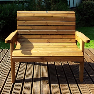 Golden Two Seater Wooden Garden Bench