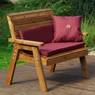Golden Two Seater Wooden Garden Bench with Burgundy Cushions