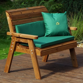 Golden Two Seater Wooden Garden Bench with Green Cushions