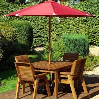 Golden Four Seater Deluxe Wooden Garden Dining Set with Burgundy Cushions