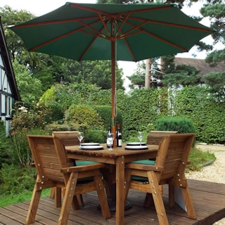 Golden Four Seater Deluxe Wooden Garden Dining Set with Green Cushions