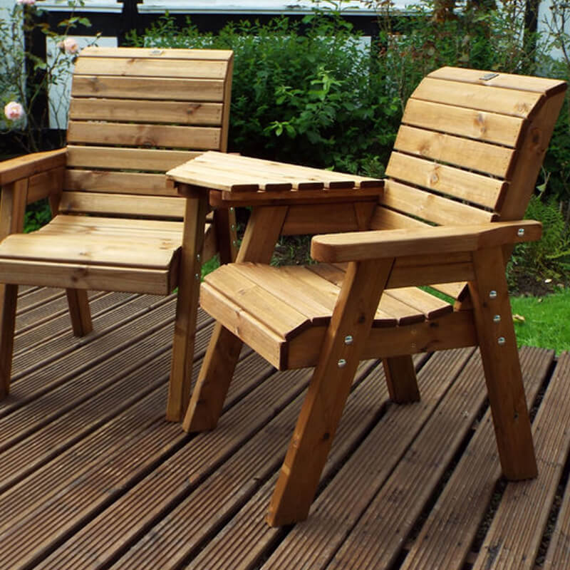 Twin Wooden Garden Chair Companion Set Angled with Green ...
