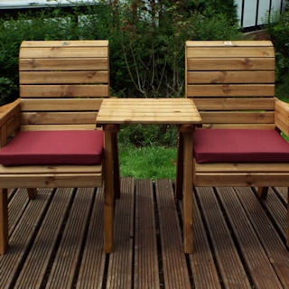 Twin Wooden Garden Chair Companion Set Straight with Burgundy Cushions