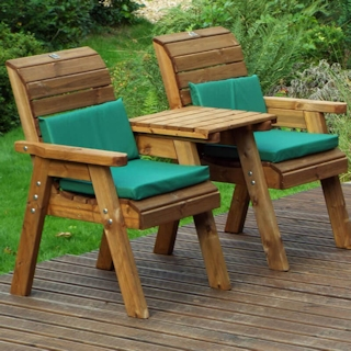 Twin Wooden Garden Chair Companion Set Straight with Green Cushions