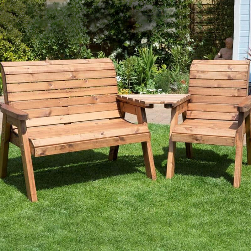 Three Seat Wooden Garden Furniture Companion Set - Angled/