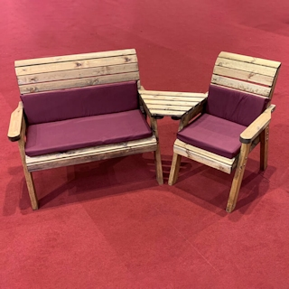 Three Seat Wooden Garden Furniture Companion Set Angled with Burgundy Cushions