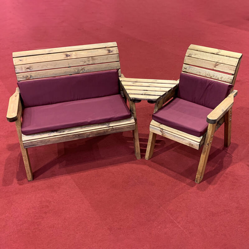 Three Seat Wooden Garden Furniture Companion Set Angled with Burgundy Cushions/