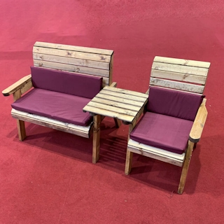 Three Seat Wooden Garden Furniture Companion Set Straight with Burgundy Cushions