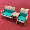 Three Seat Wooden Garden Furniture Companion Set Straight with Green Cushions/