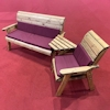 Four Seater Wooden Garden Furniture Companion Set Angled with Burgundy Cushions/