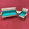 Four Seater Wooden Garden Furniture Companion Set Angled with Green Cushions/