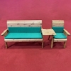 Four Seater Wooden Garden Furniture Companion Set Straight with Green Cushions/