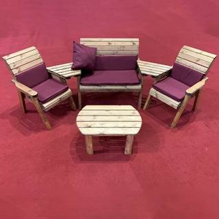Four Seater Wooden Outdoor Furniture Set with Burgundy Cushions