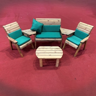 Four Seater Wooden Outdoor Furniture Set with Green Cushions