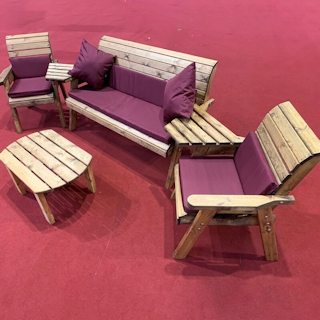 Five Seater Wooden Outdoor Furniture Set with Burgundy Cushions