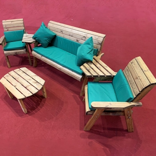 Five Seater Wooden Outdoor Set with Green Cushions