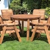 Four Seater Round Wooden Garden Table Set with Burgundy Cushions/
