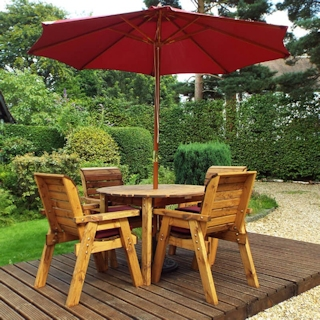 Four Seater Round Wooden Garden Table Set with Burgundy Cushions
