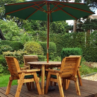 Four Seater Round Wooden Garden Table Set with Green Cushions