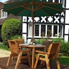 Four Seater Round Wooden Garden Table Set with Green Cushions/