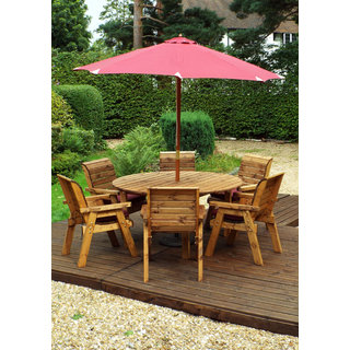 Six Seater Circular Wooden Garden Dining Set with Burgundy Cushions